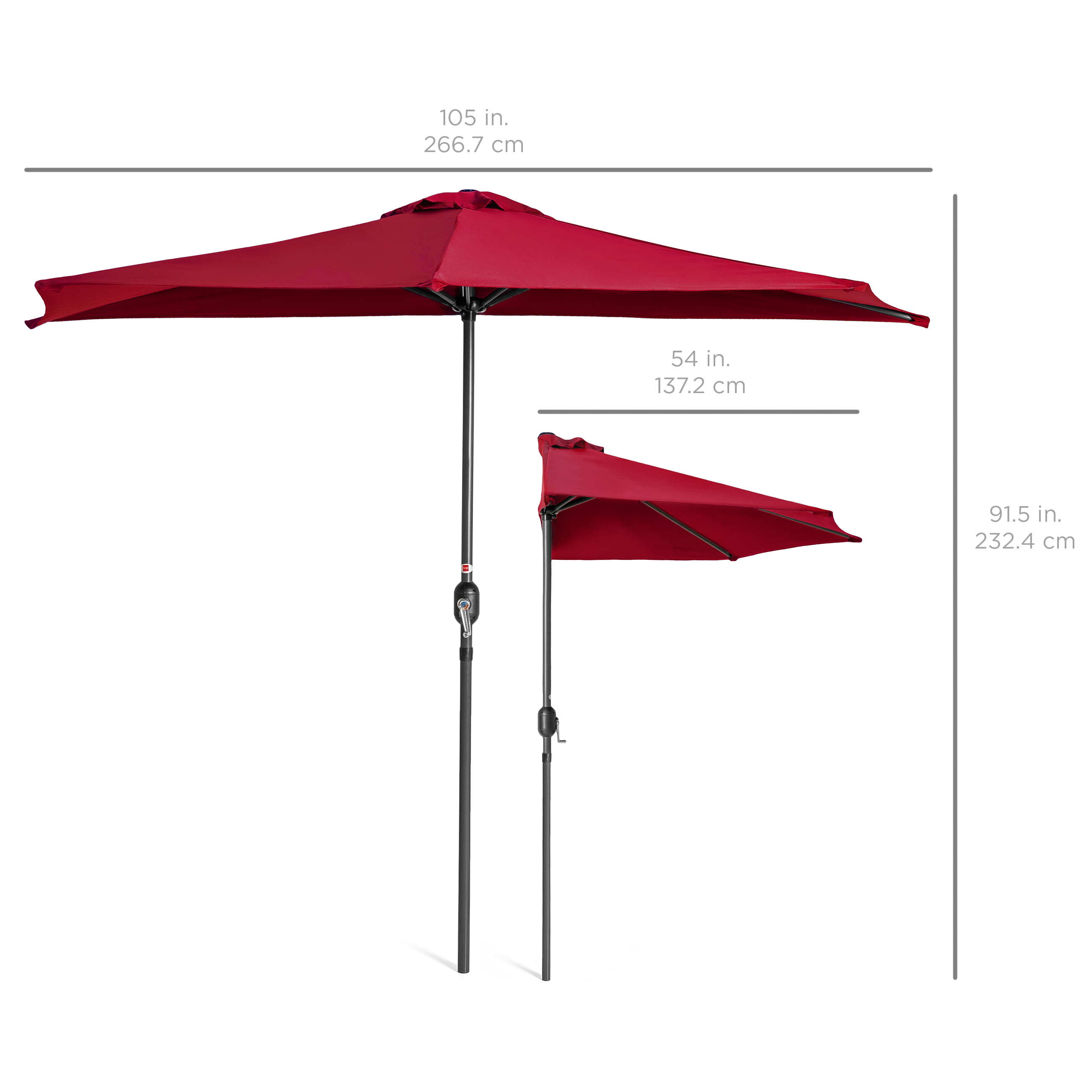 BCP-9ft-Half-Patio-Umbrella-w-Crank-Steel-Frame-UV-amp-Water-Resistant-Fabric thumbnail 30