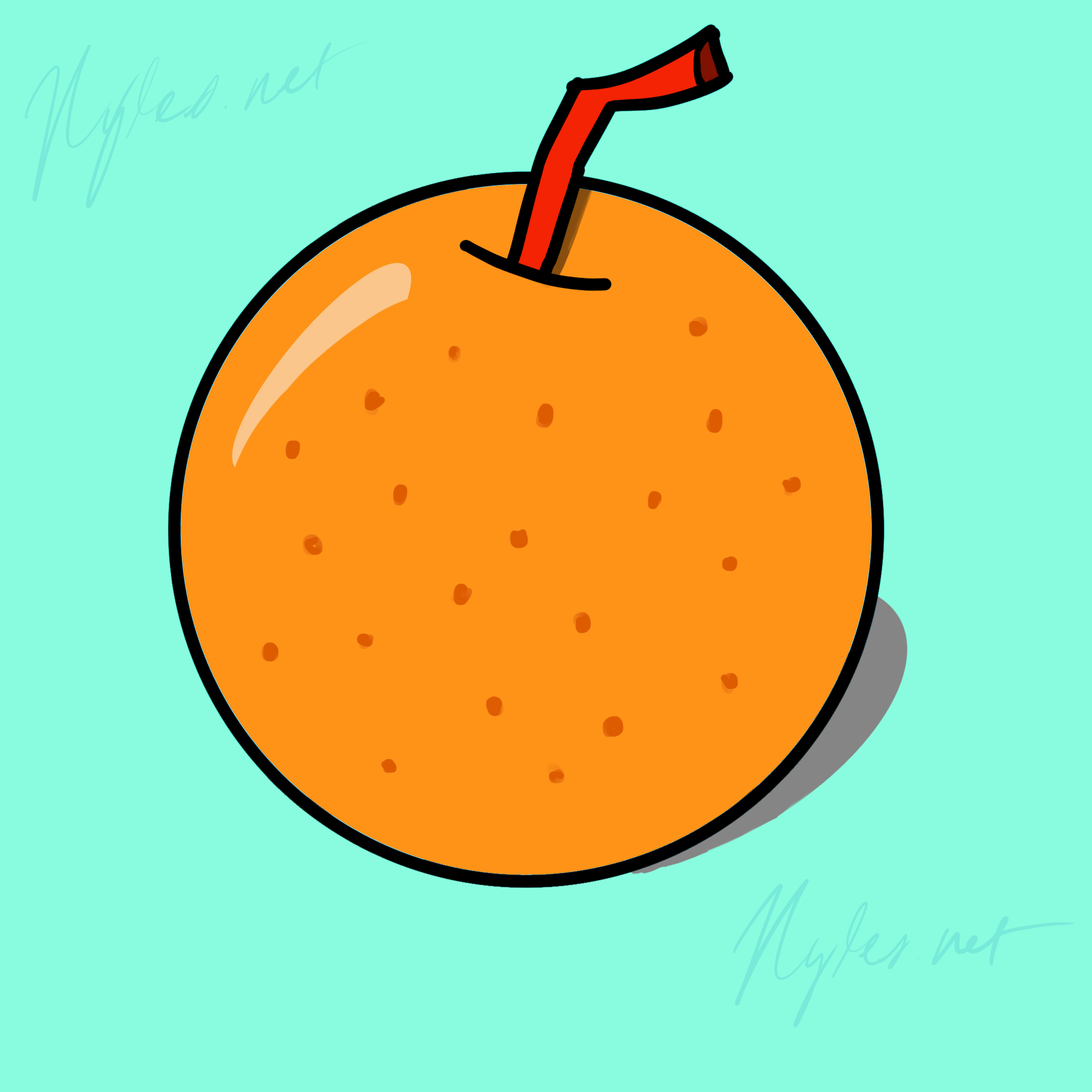 2D Digital Drawing of a carton orange with a red straw into the top