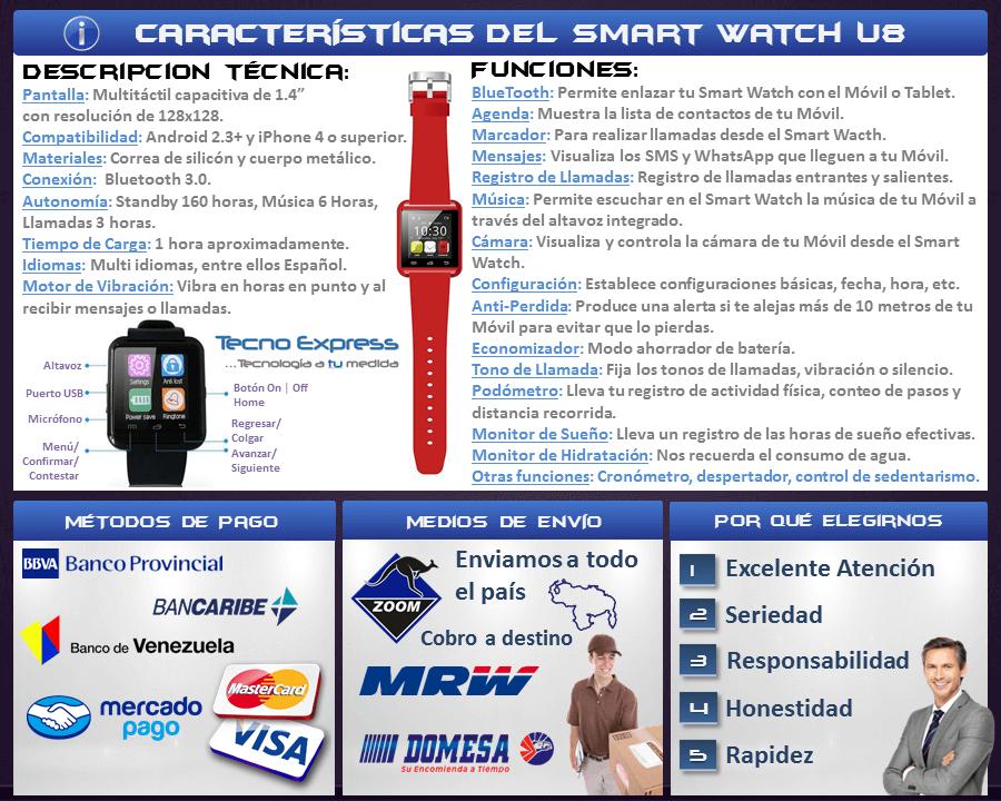 Smartwatch Reloj Inteligente U8 Android y Iphone