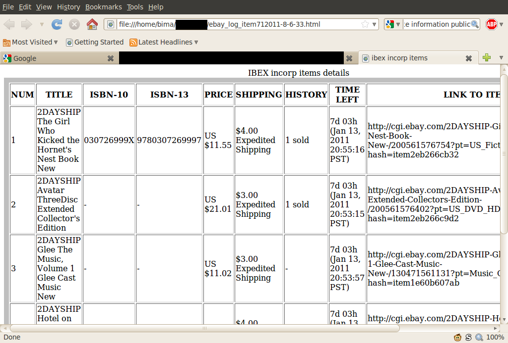 html log
