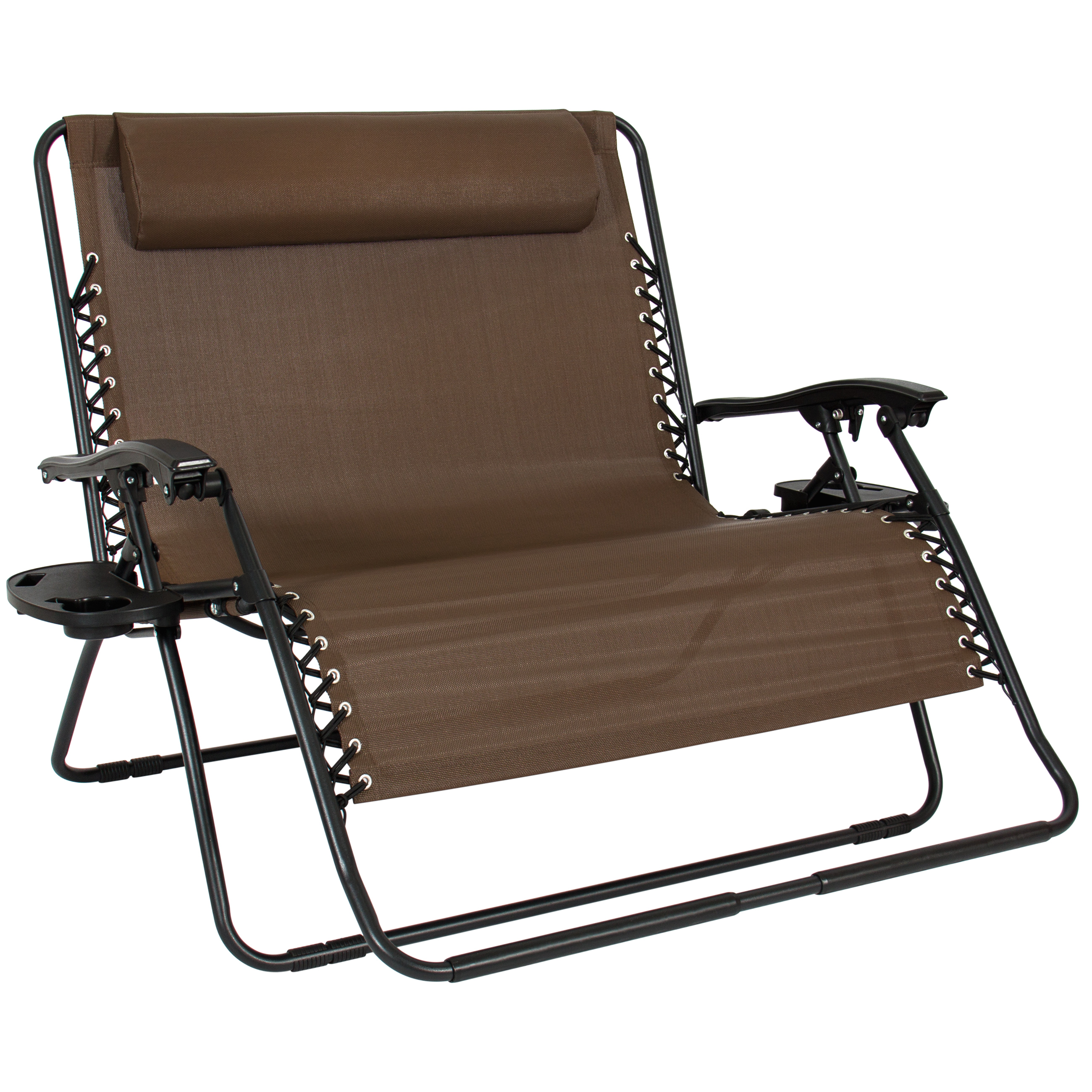 Folding 2 person oversized zero gravity lounge chair w 2 accessory trays brown ebay - Oversized zero gravity lounge chair ...