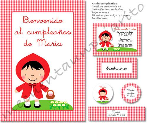 Kit de fiesta personalizado de cumpleaños de Caperucita Roja, cartel bienvenida, invitación, place cards (meseros), toppers, etiqueta gracias, servilleteros o etiquetas botellas