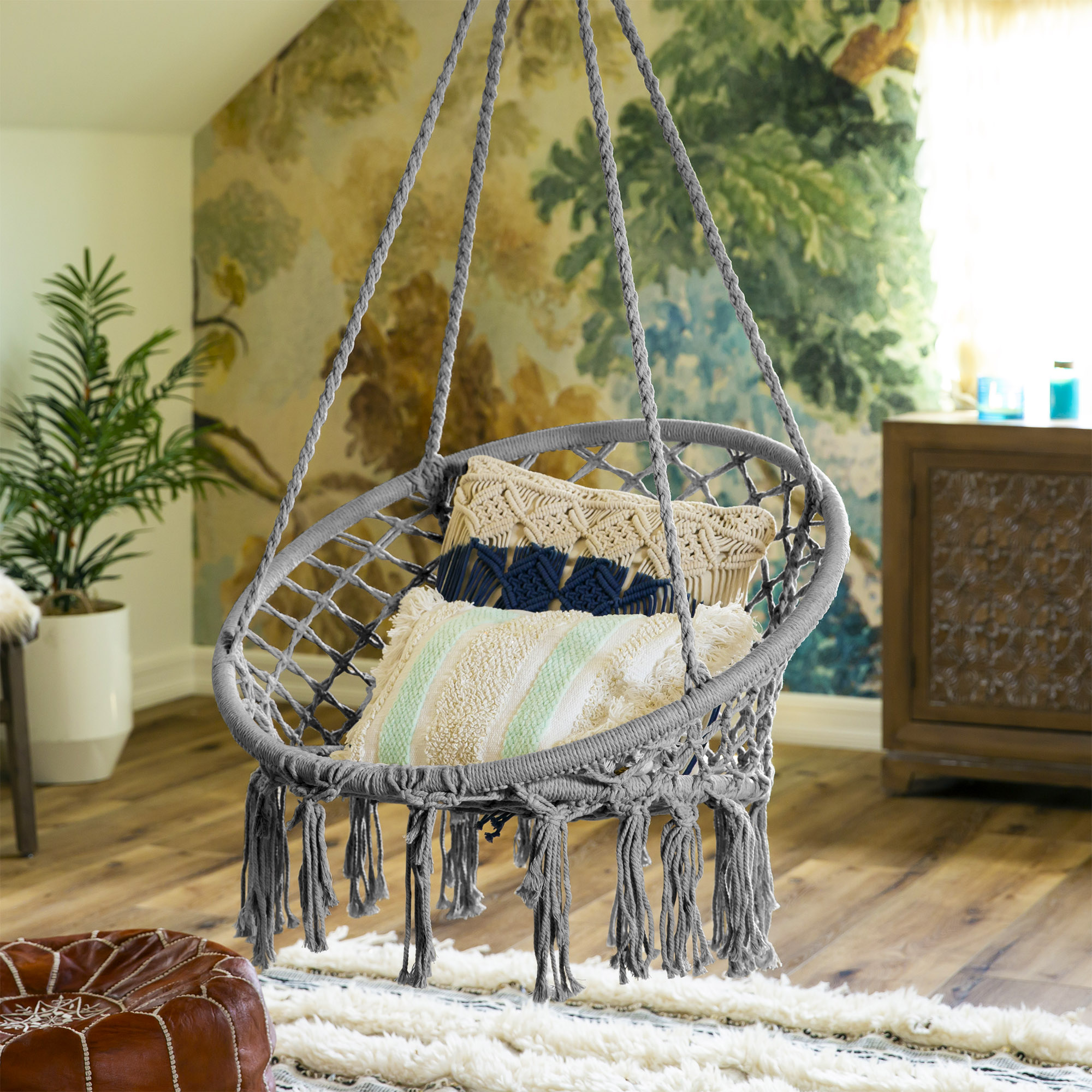 BCP-Handwoven-Cotton-Macrame-Hammock-Hanging-Chair-Swing-w-Backrest thumbnail 23