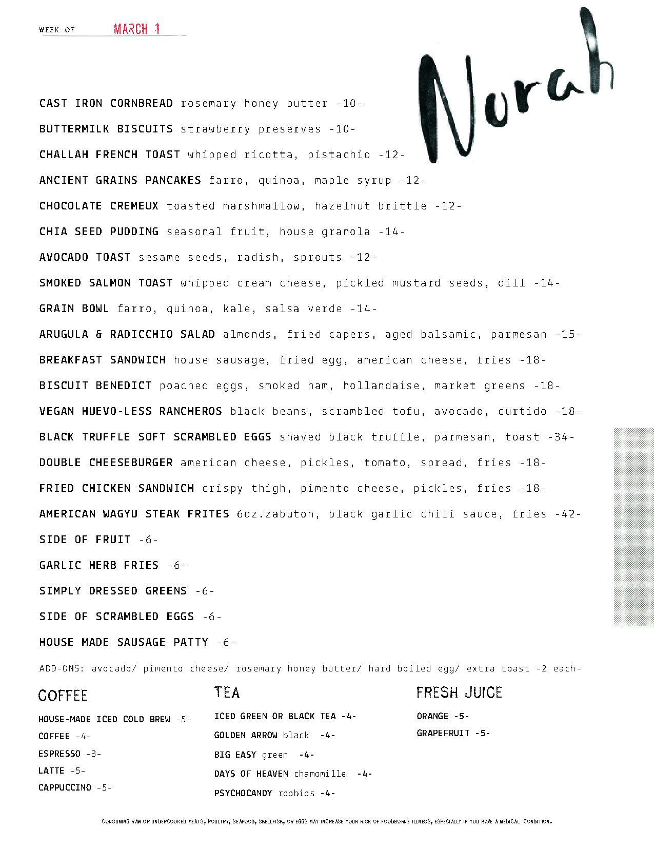 Norah Brunch Menu