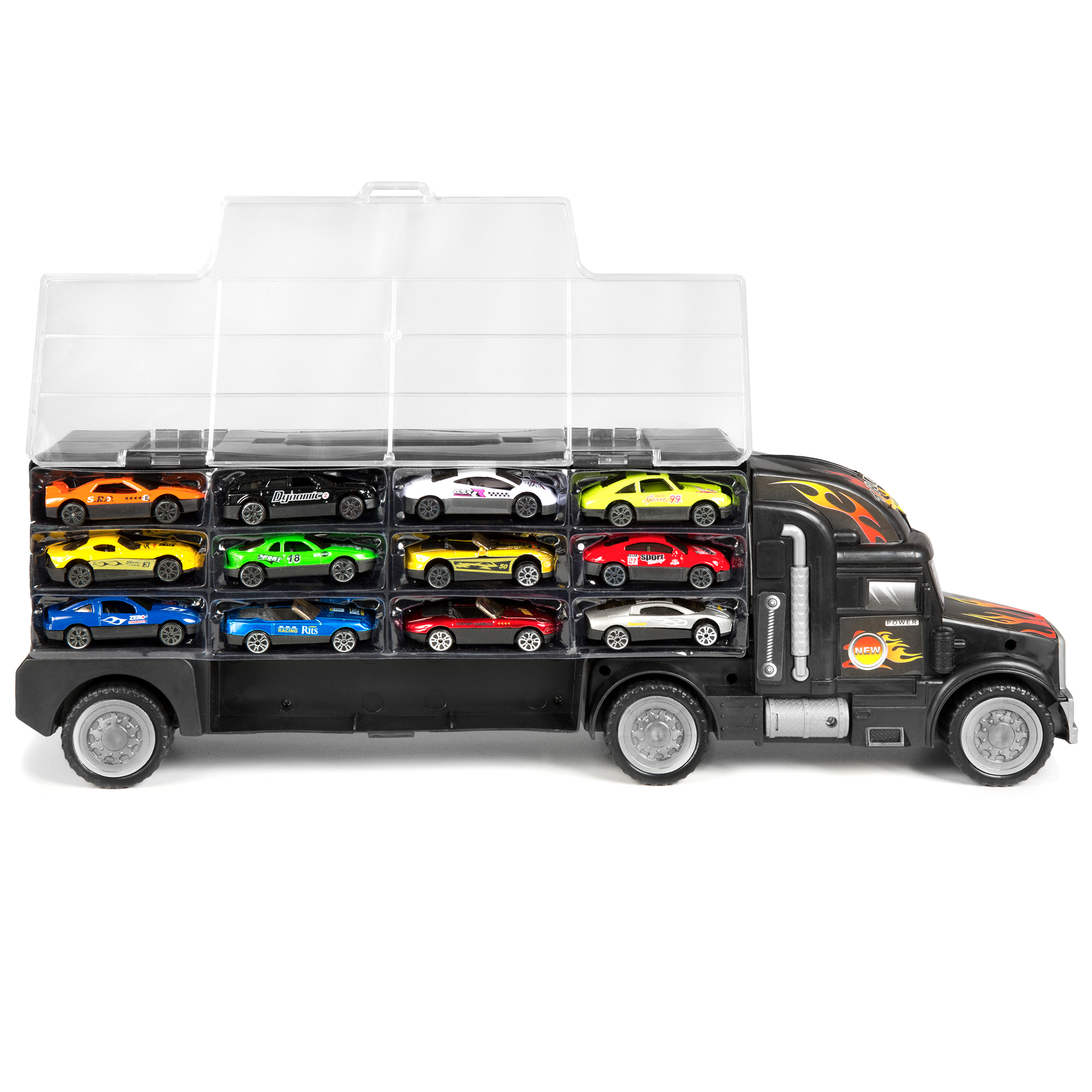 Купить Kids 2-Sided Transport Car Carrier Semi Truck Toy With 18 Cars And 28 Slots