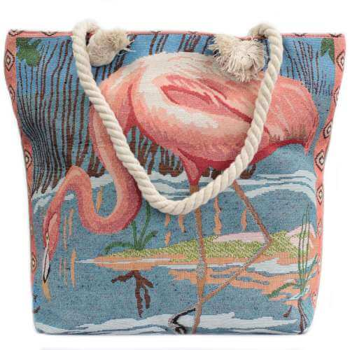 rope handle bag - pink flamingo
