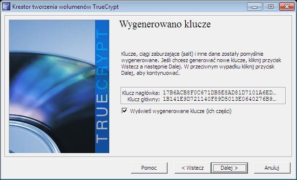 Klucze szyfrujące dane TrueCrypt