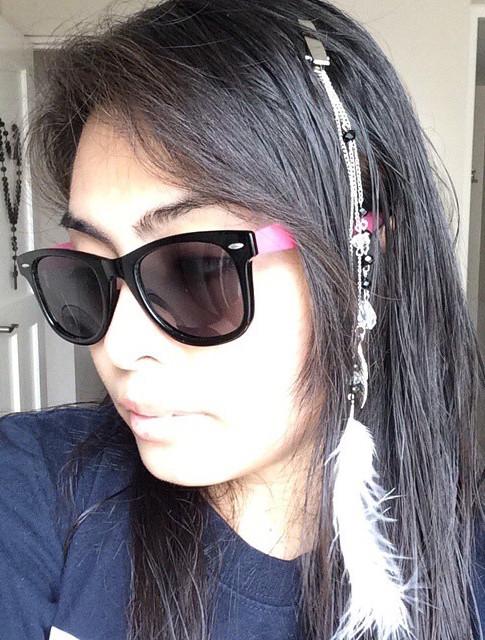 Me, modelling my sister's genius boho clip