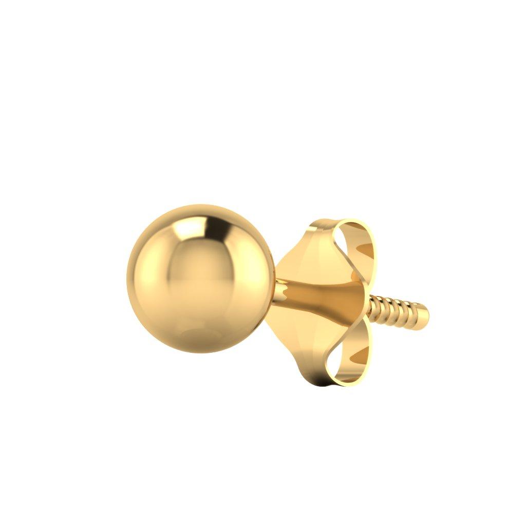 The Plain Ball Gold Mens Stud