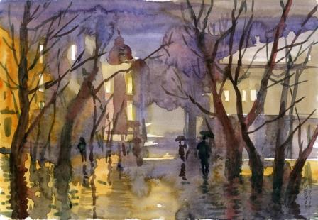 Valeriy Syrov Paseos bajo la lluvia, acuarela