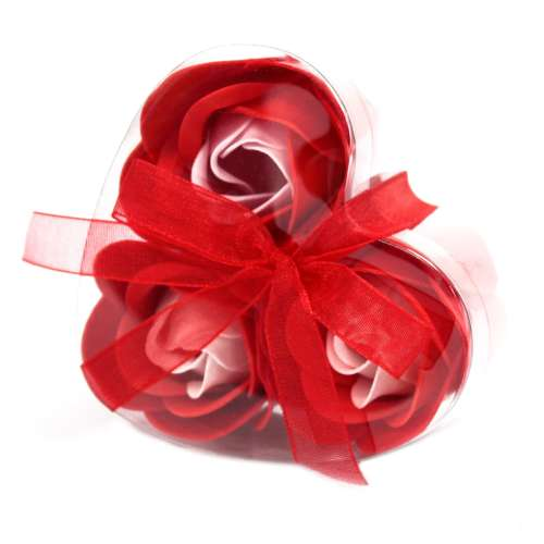 set of 3 soap flowers - red roses