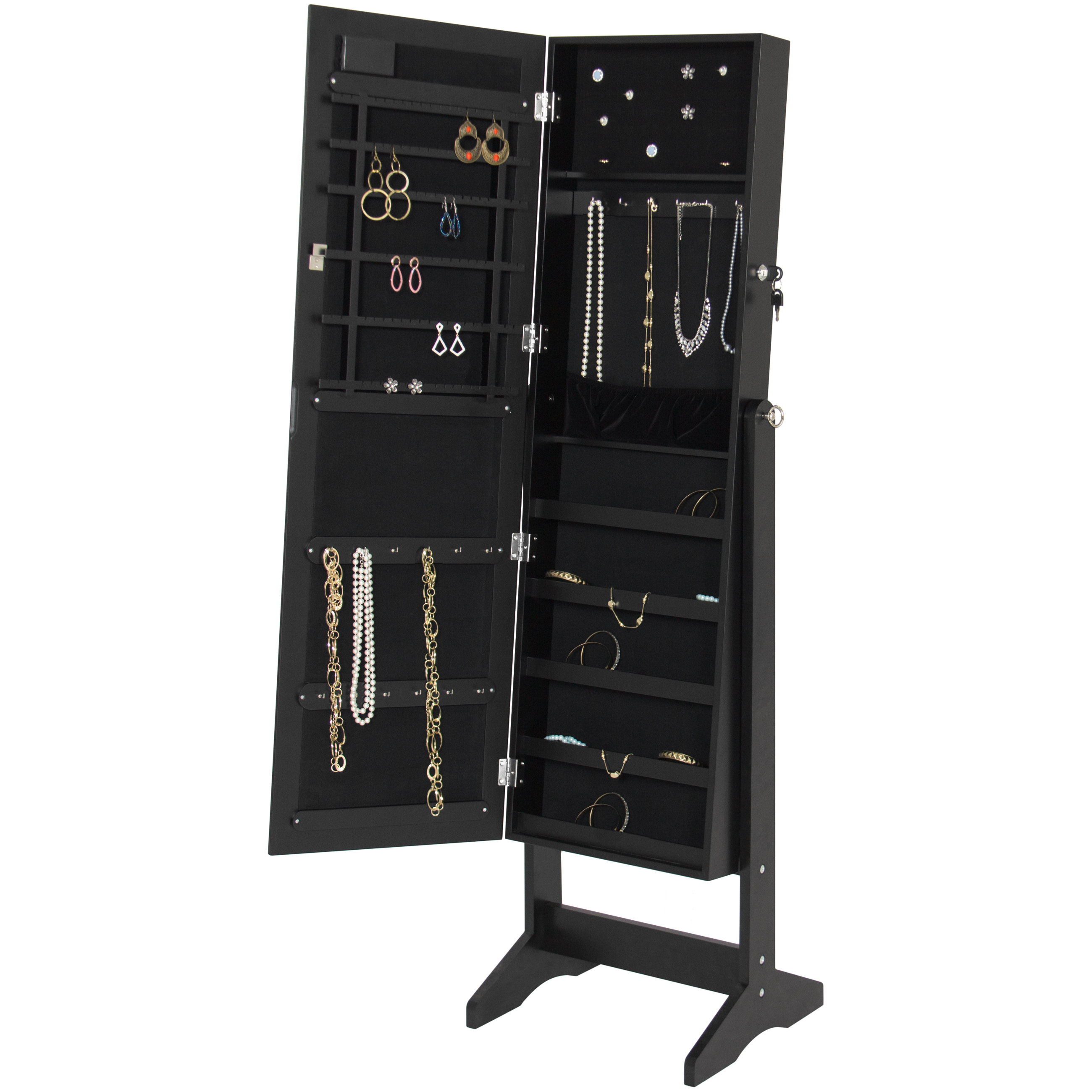 best choice products led lighted mirrored jewelry cabinet