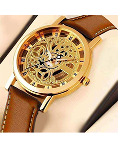 Roman Numerals Skeleton Dial Analog Watch for Men Brown