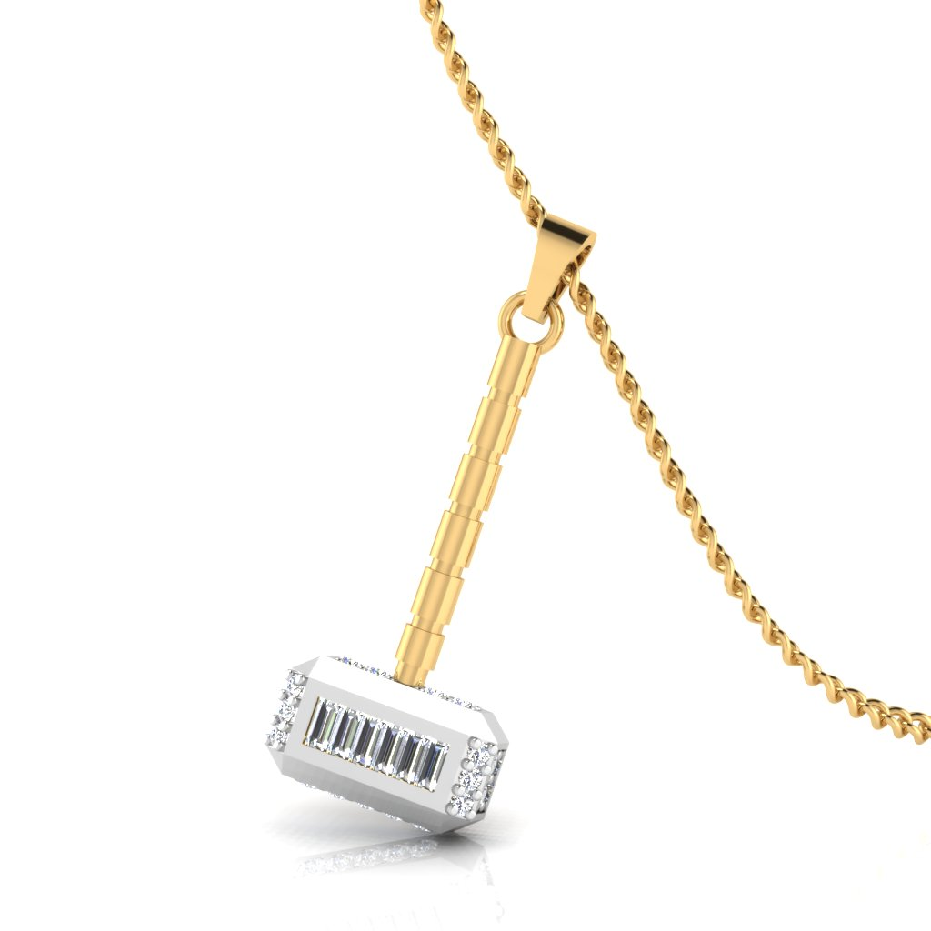 The Thor Mens Hammer Diamond Pendant