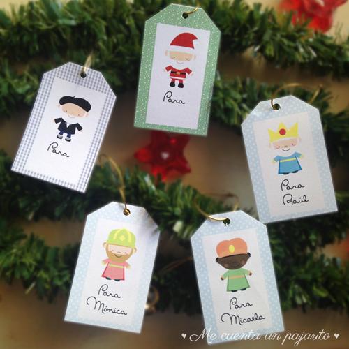Etiquetas de Navidad con nombre, etiquetas personalizadas, Olentzero, Papá Noel, Reyes Magos