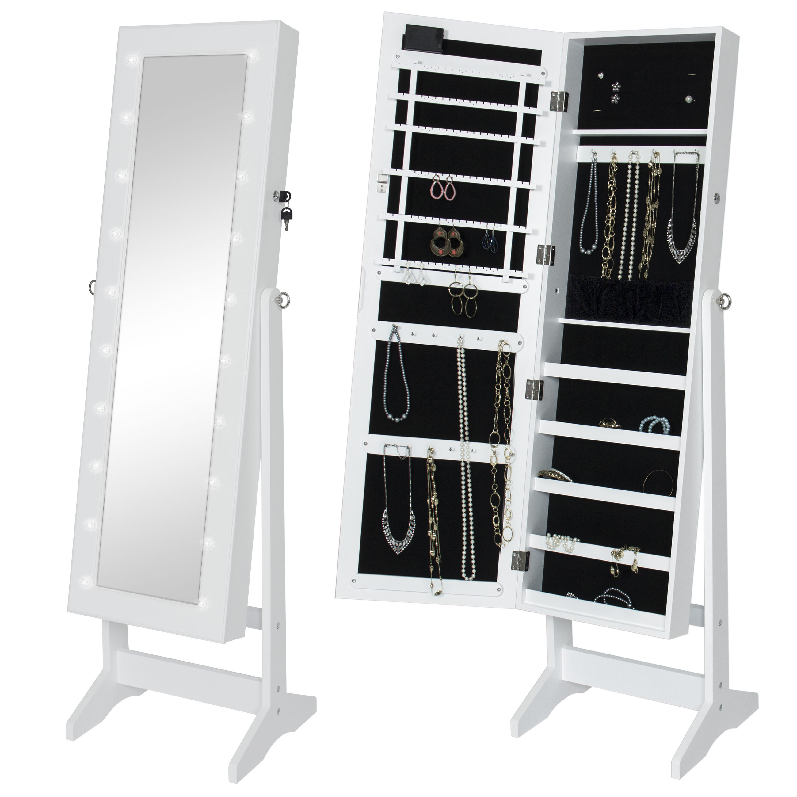 jewelry cabinet mirror bcp mirrored jewelry armoire cabinet w led lights 18019
