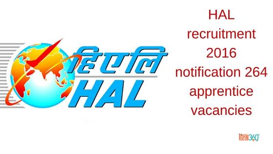 HAL recruitment 2016 notification 264 apprentice vacancies