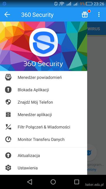 Polskojęzyczne GUI programu Qihoo 360 AntiVirus 2.1