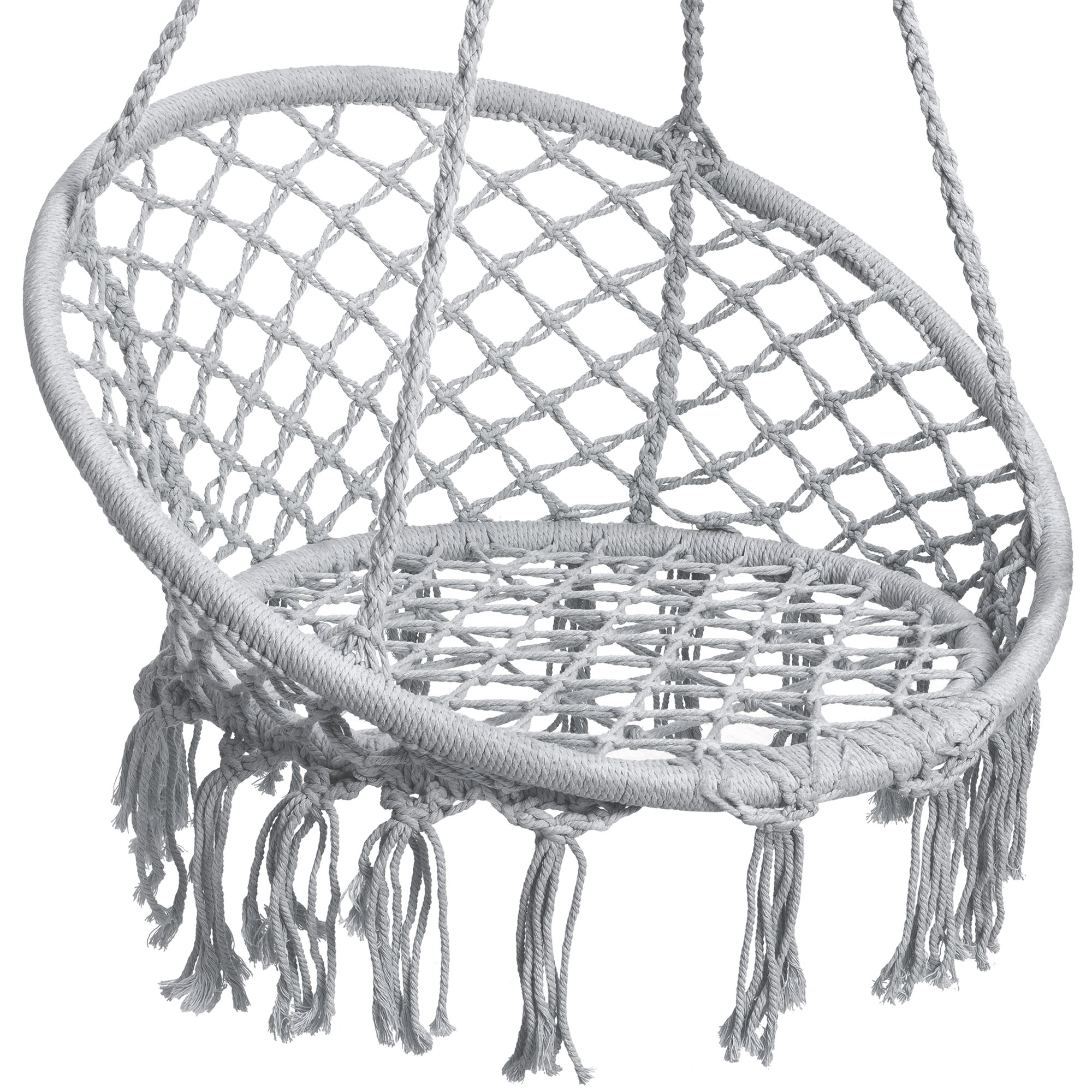 BCP-Handwoven-Cotton-Macrame-Hammock-Hanging-Chair-Swing-w-Backrest thumbnail 25