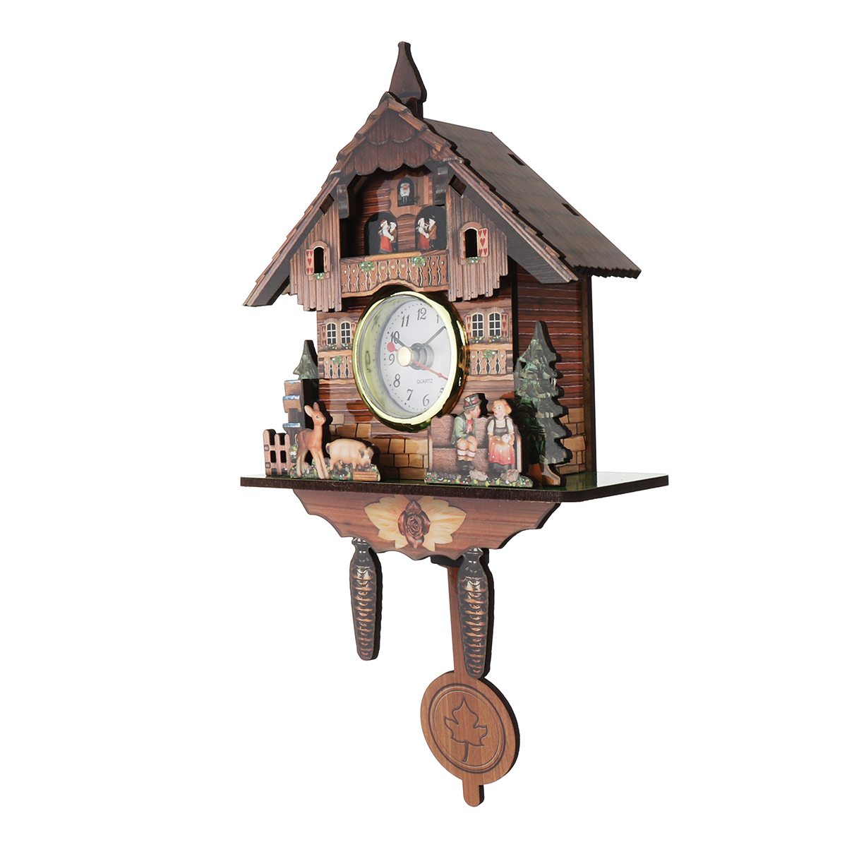 Home Decorat: Cuckoo Clock Mount Wooden Wall Clock Analog Auto