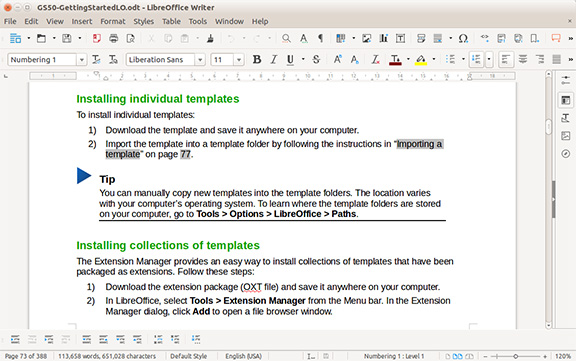 LibreOffice Writer wordprocess screenshot