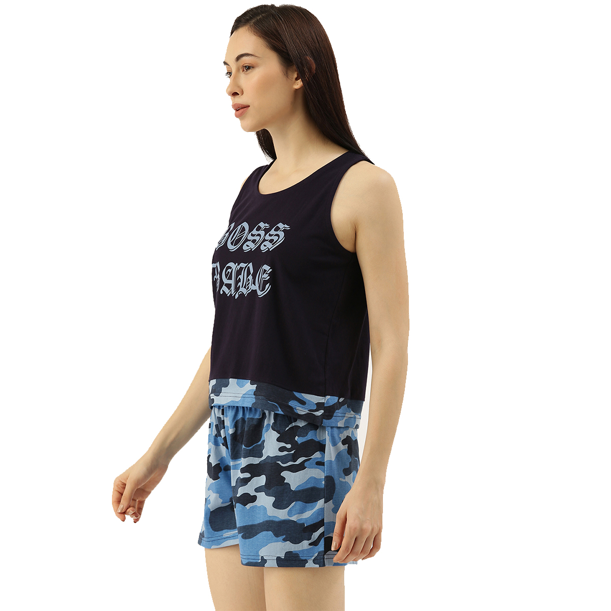 Slumber Jill Blue Camouflage Shorts Set