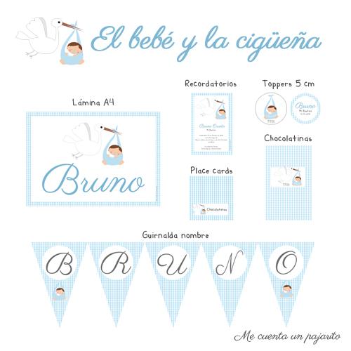 Papelería personalizada del bautizo de Bruno y la cigüeña, lámina, toppers, etiquetas, pegatinas, place cards, chocolatinas, guirnalda nombre