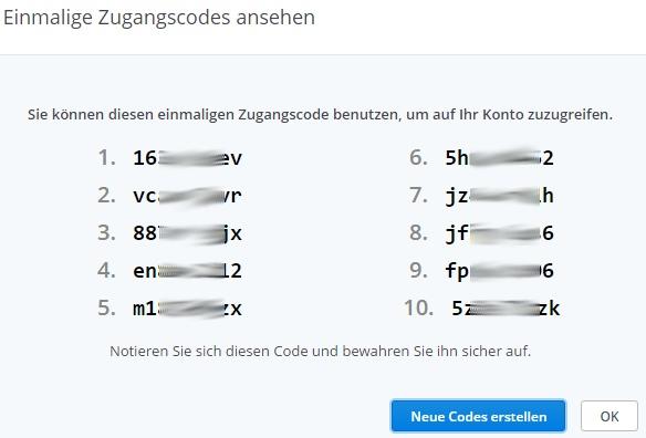 Einmalcodes für Dropbox.