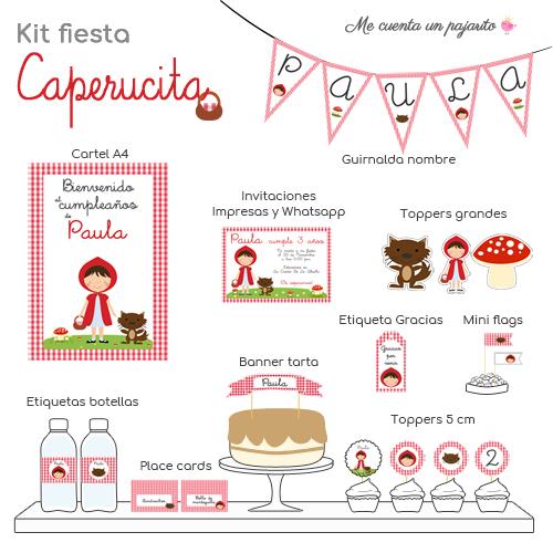 Kit papelería personalizada cumpleaños caperucita roja