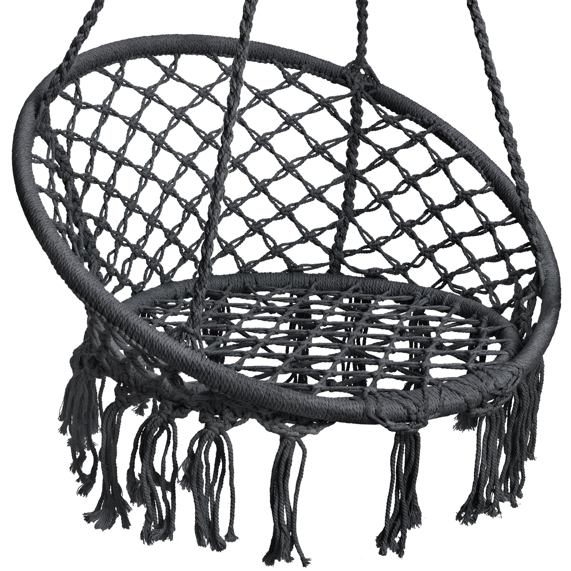BCP-Handwoven-Cotton-Macrame-Hammock-Hanging-Chair-Swing-w-Backrest thumbnail 18