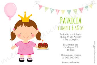 Invitación de cumpleaños de la princesa con globo