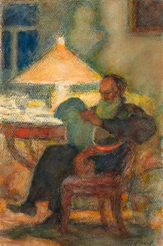 Leonid Pasternak  León Tolstoy Acuarela