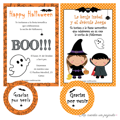 Invitaciones y etiquetas personalizadas de Happy Halloween y Party Halloween
