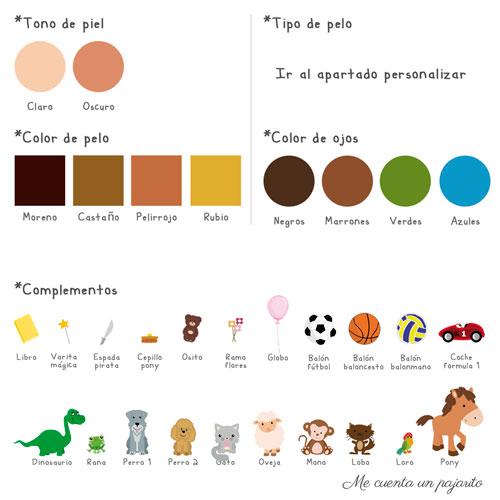 Personalizar recordatorio de Primera Comunión, colores, pelo, ojos, accesorios, complementos