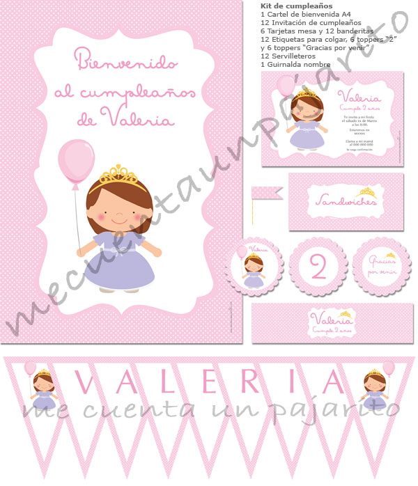 Kit de cumpleaños de la princesa con globo