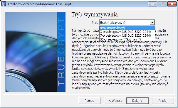 Tryb wymazywania danych w Truecrypt