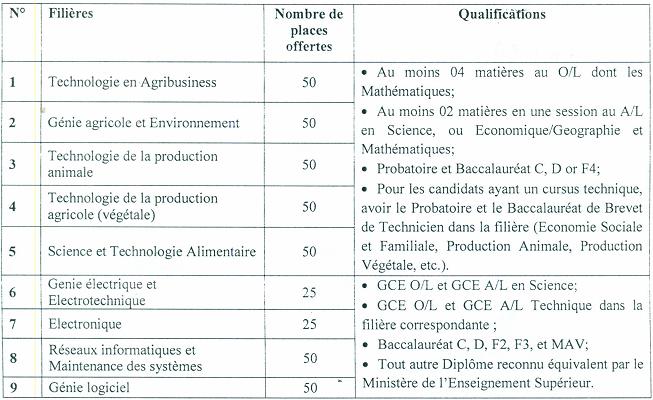Concours COLTECH Bamenda 2019-2020: première année Université de Bamenda