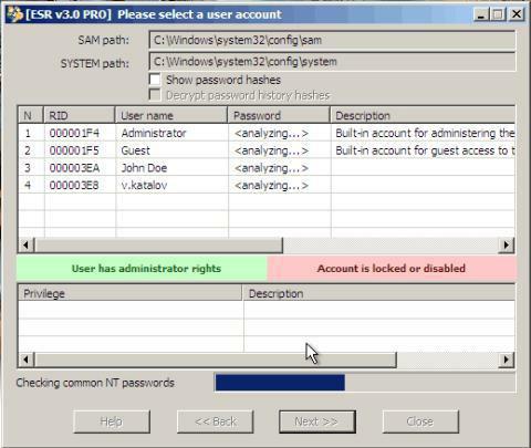 Elcomsoft System Recovery szukanie skrótów haseł