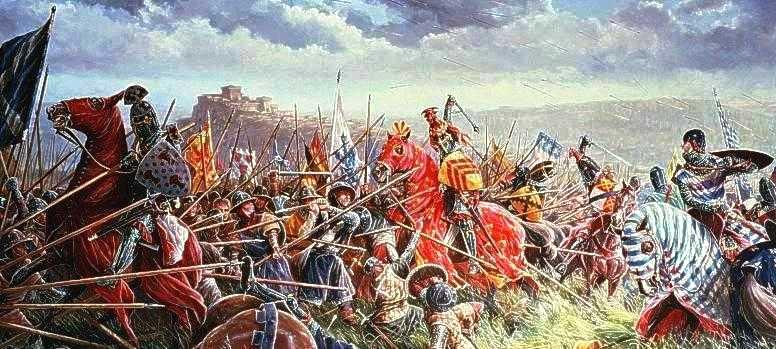 Битва при Бэннокбарне. Английские рыцари атакуют шотландский шилтрон