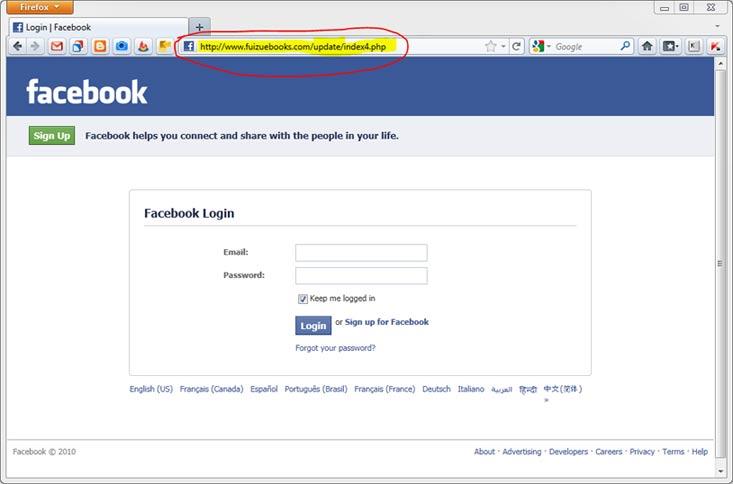 jak włamać się na fb  - przykład