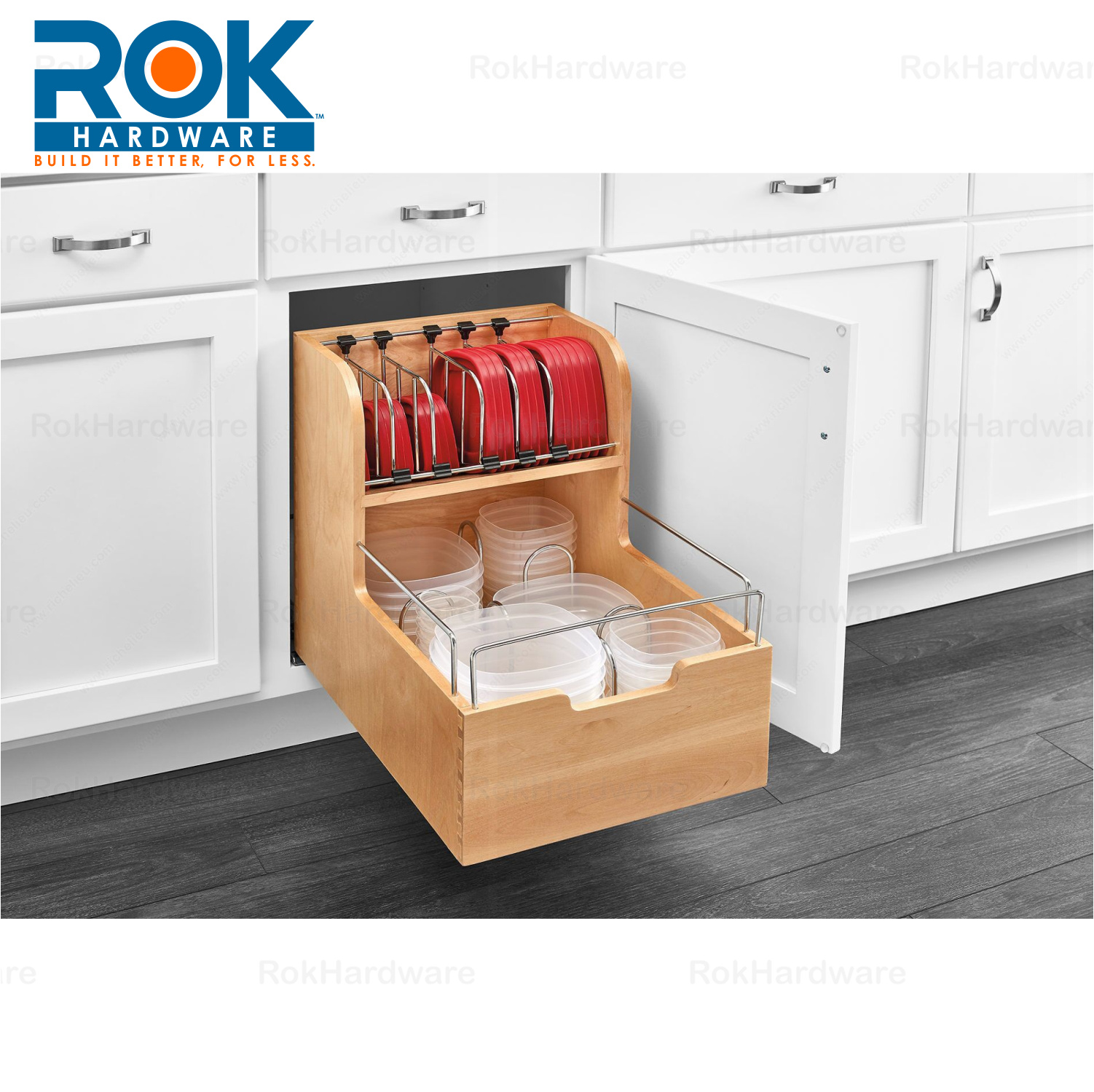 Rev a shelf kitchen cabinet food storage container 24 - Bathroom cabinet organizers pull out ...