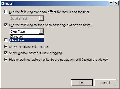 Select ClearType from the drop-down list