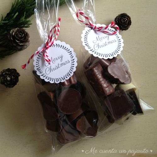 Bolsa de bombones, etiqueta personalizada Merry Christmas