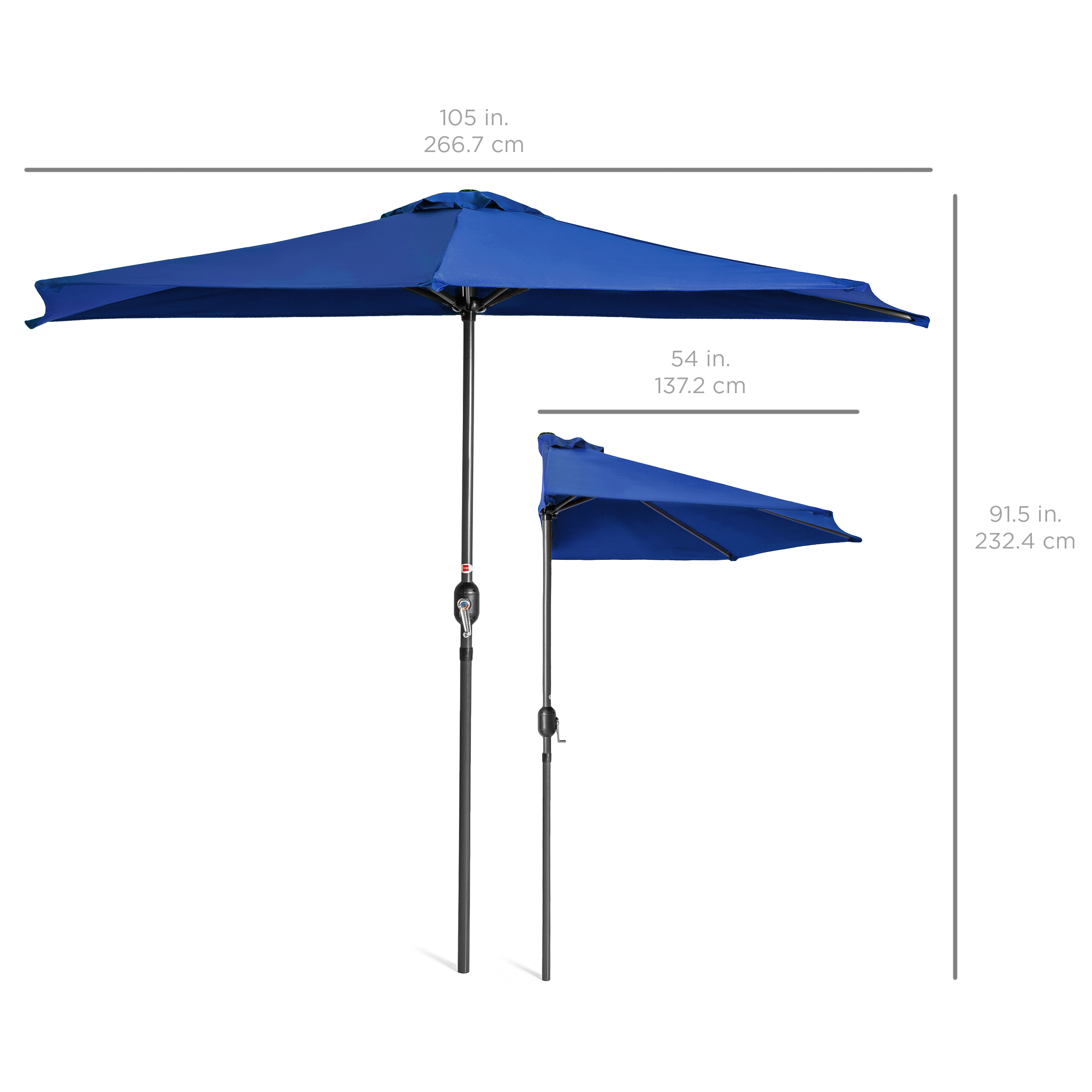 BCP-9ft-Half-Patio-Umbrella-w-Crank-Steel-Frame-UV-amp-Water-Resistant-Fabric thumbnail 12