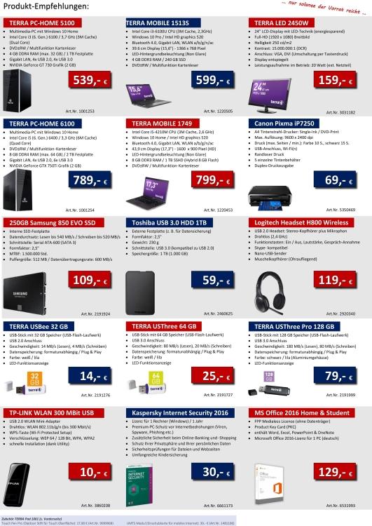 Der aktuelle Info-Flyer mit zahlreichen Produkten, z. B. weitere PCs oder Laptops