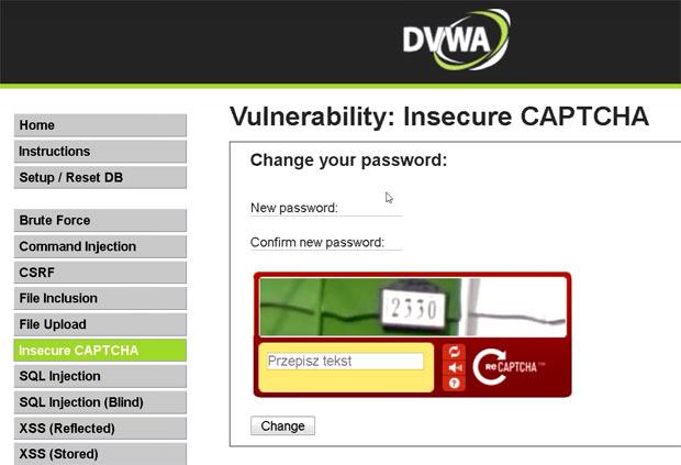 Moduł PHP w Damn Vulnerable Web Application, umożliwiający atak CSRF mimo implementacji mechanizmu reCAPTCHA (kod z obrazka).