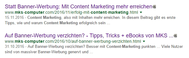 Such-Treffer zum Thema Content Marketing - mit Link, Kurz-Beschreibung + Überschrift.