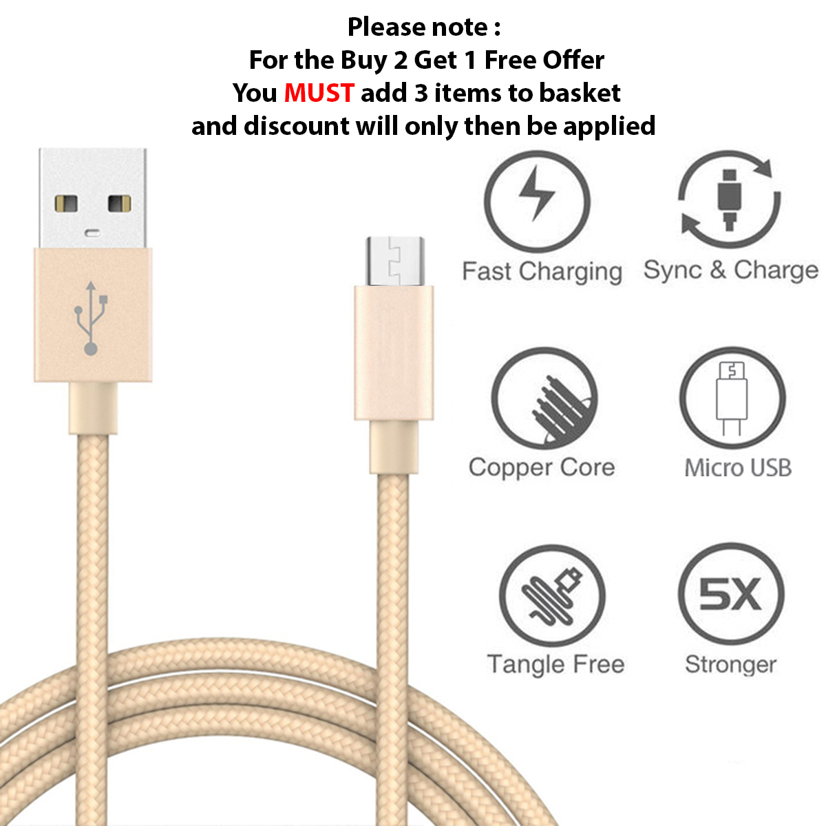 Micro-USB-Fast-Charge-Braided-Cable-1M-2M-3M-Data-Charging-Charger-For-Samsung miniatuur 61