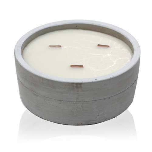 soy wax large concrete candle - patchouli & dark amber