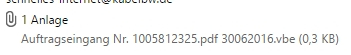 Diese Mail enthält eine angebliche Rechnung als PDF, die jedoch durch das doppelte Datei-Format ein schädliches Script ist.